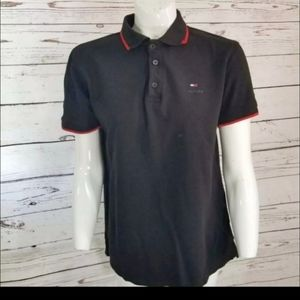 TOMMY HILFIGER BLACK POLO SHIRT LARGE